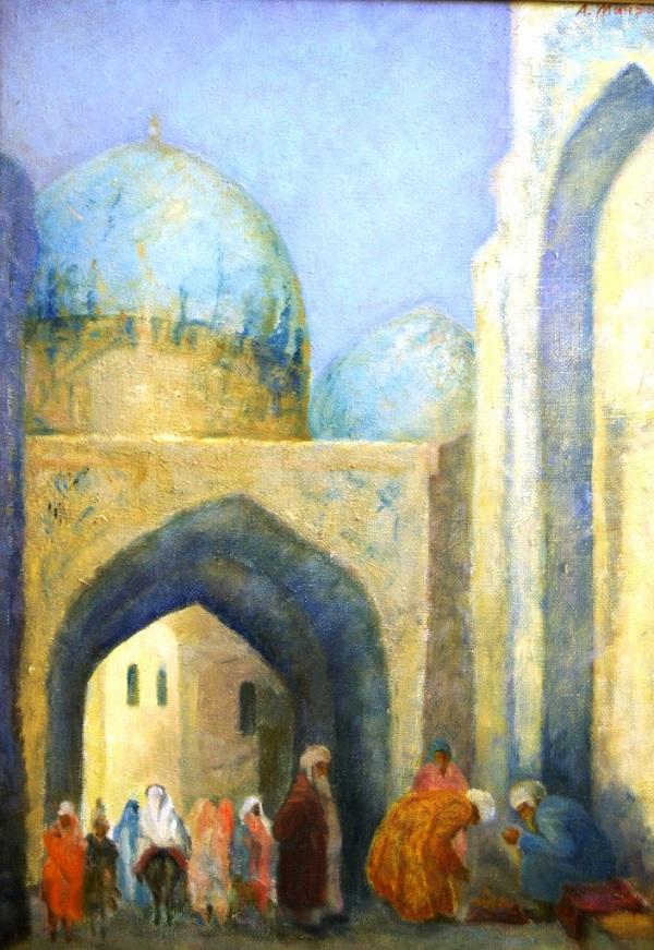 Художник Александр Мичри «Самарканд. У старой мечети Шахи Занда»